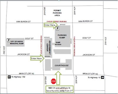 Map of Anoka County Government Center with information on parking and entrances.