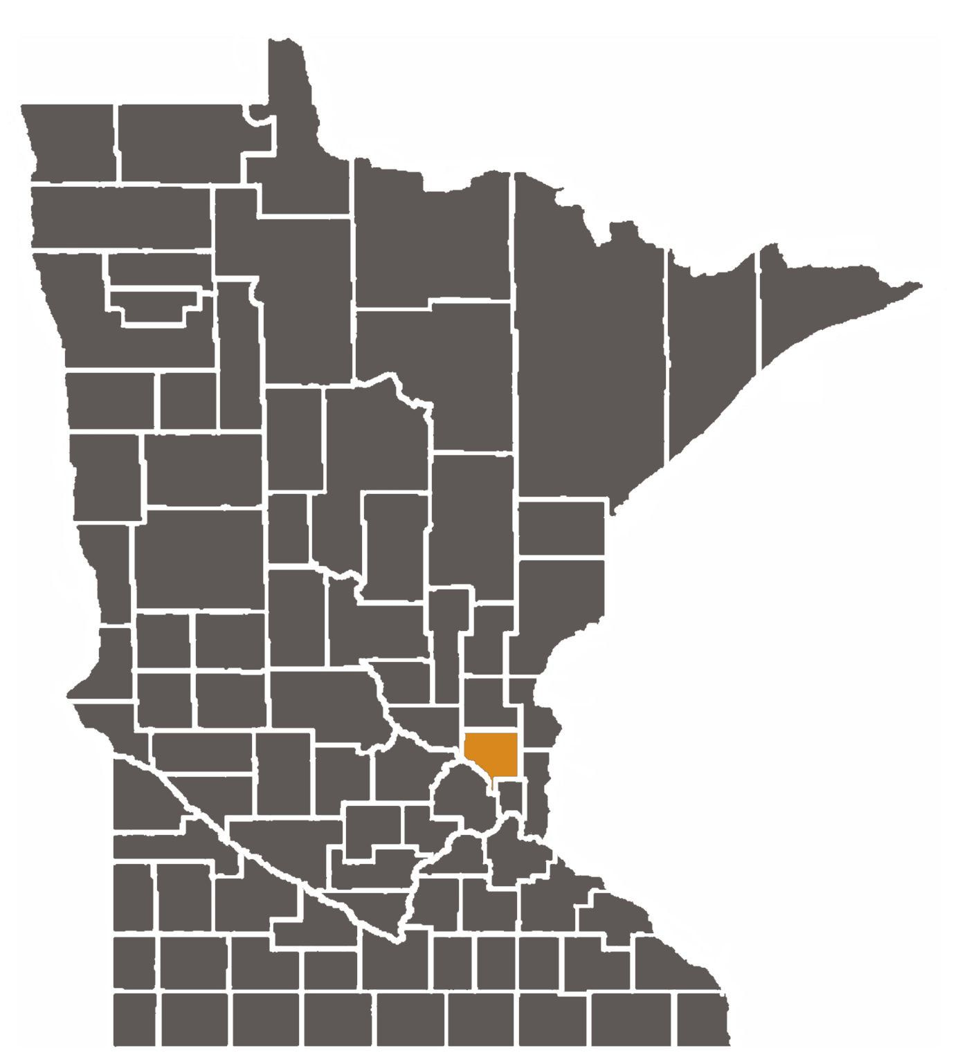 Minnesota map with Anoka County highlighted.