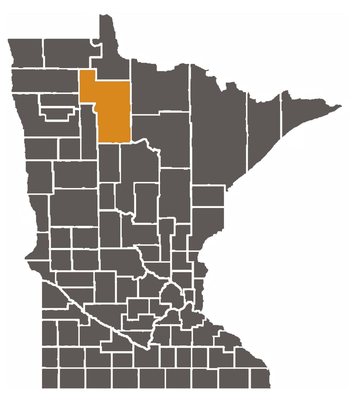 Minnesota map with Beltrami County highlighted