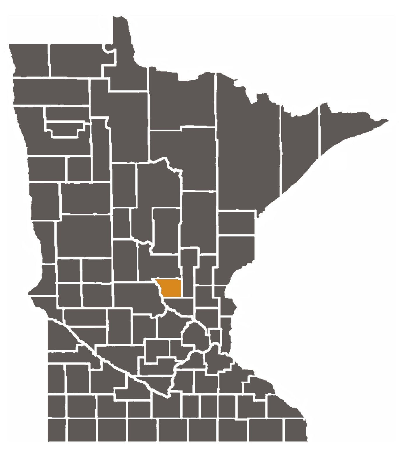 Minnesota map with Benton County highlighted