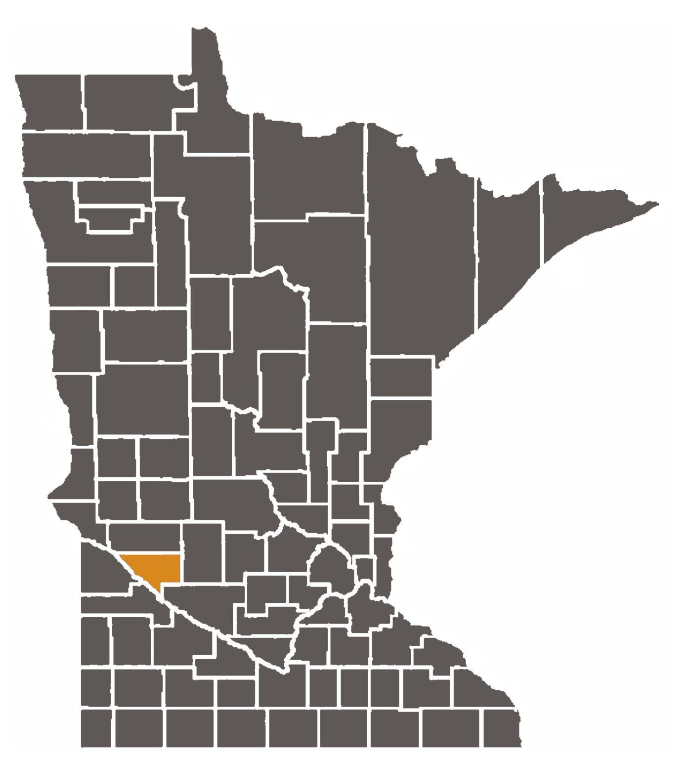 Minnesota map with Chippewa County highlighted.