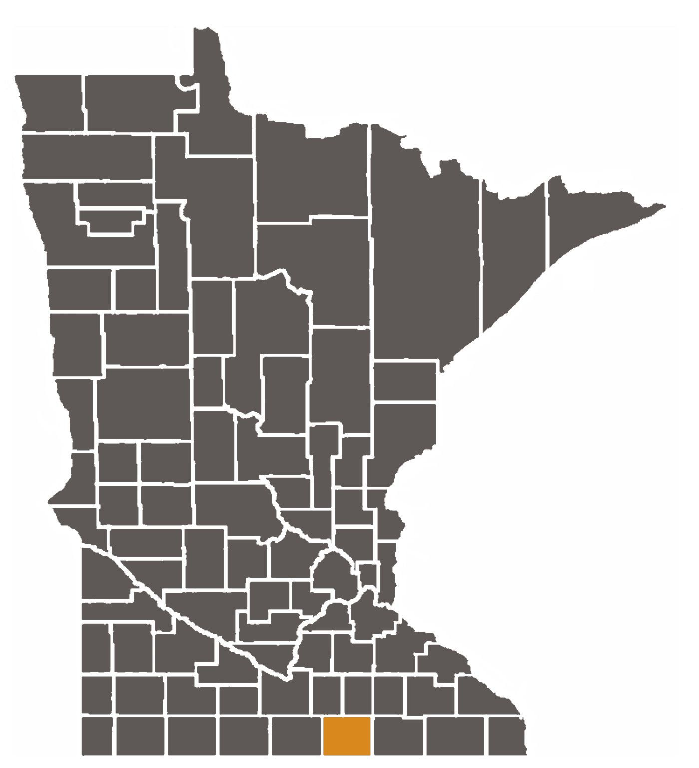 Minnesota map with Freeborn County highlighted.