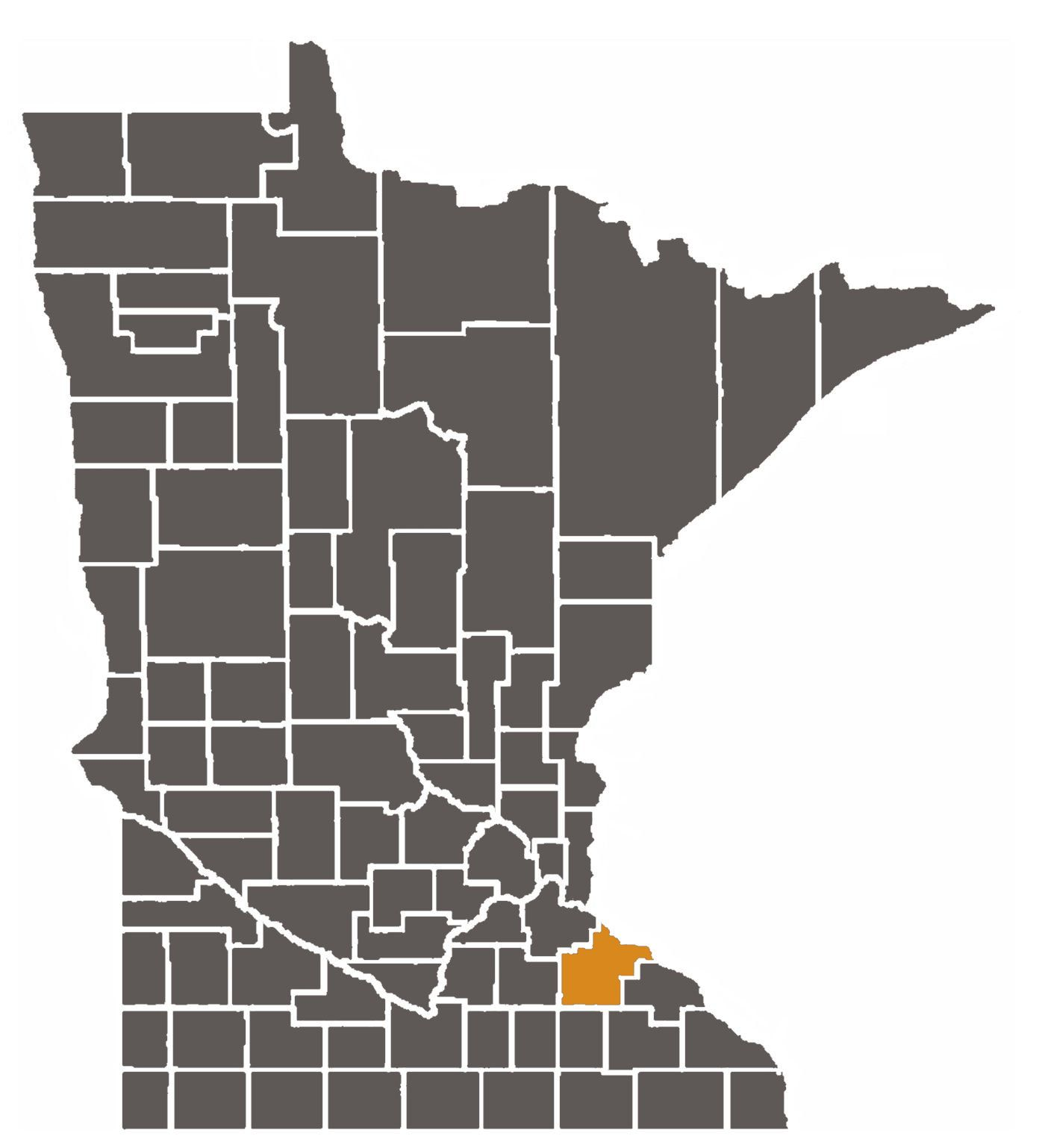 Minnesota map with Goodhue County highlighted.
