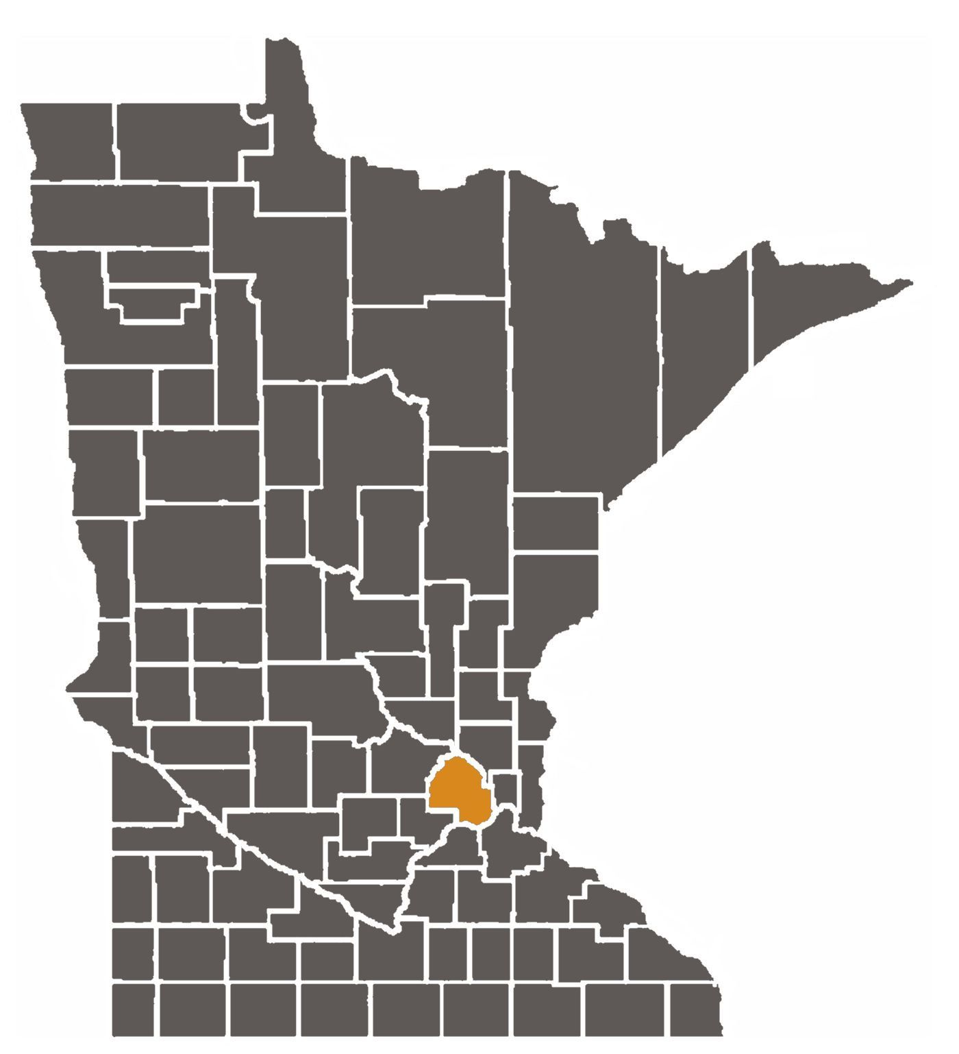 Map of Minnesota with Hennepin County highlighted