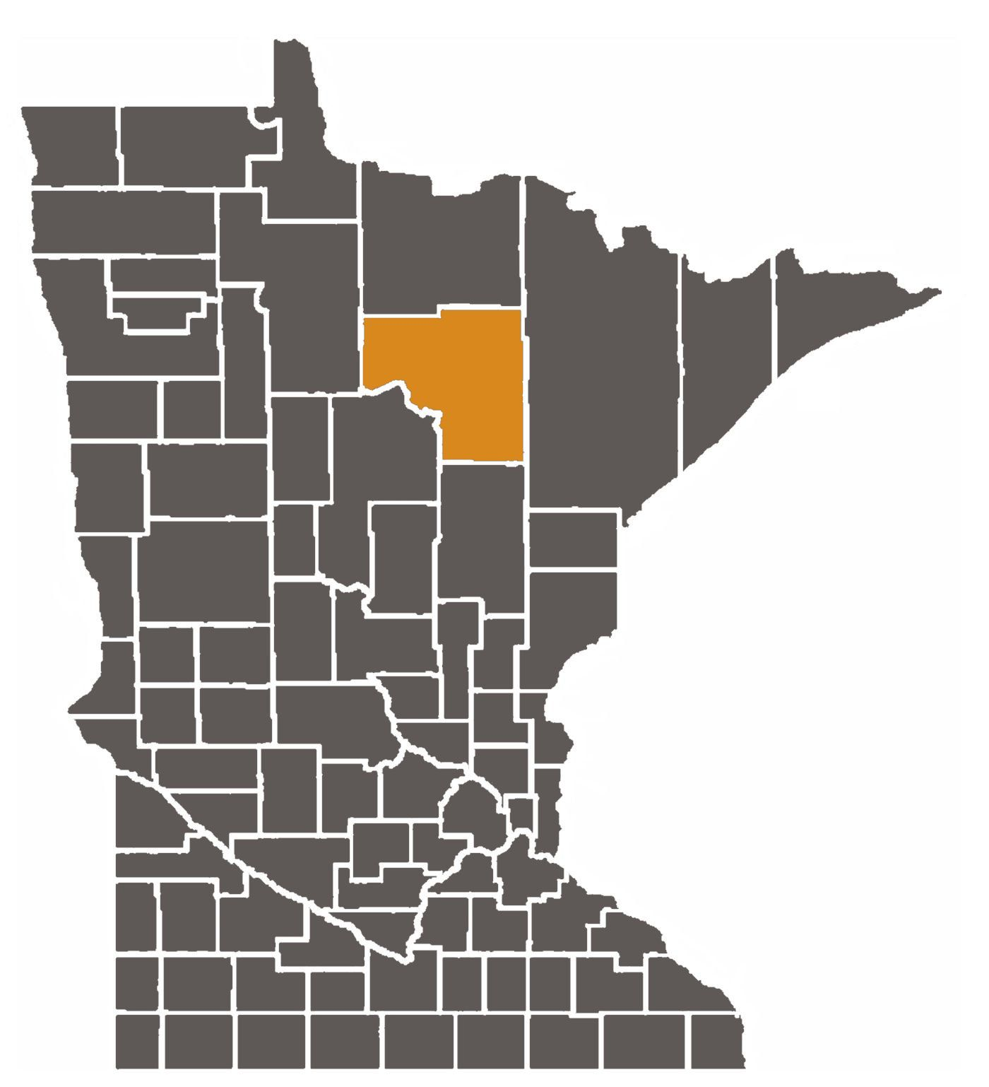Minnesota map with Itasca County highlighted.