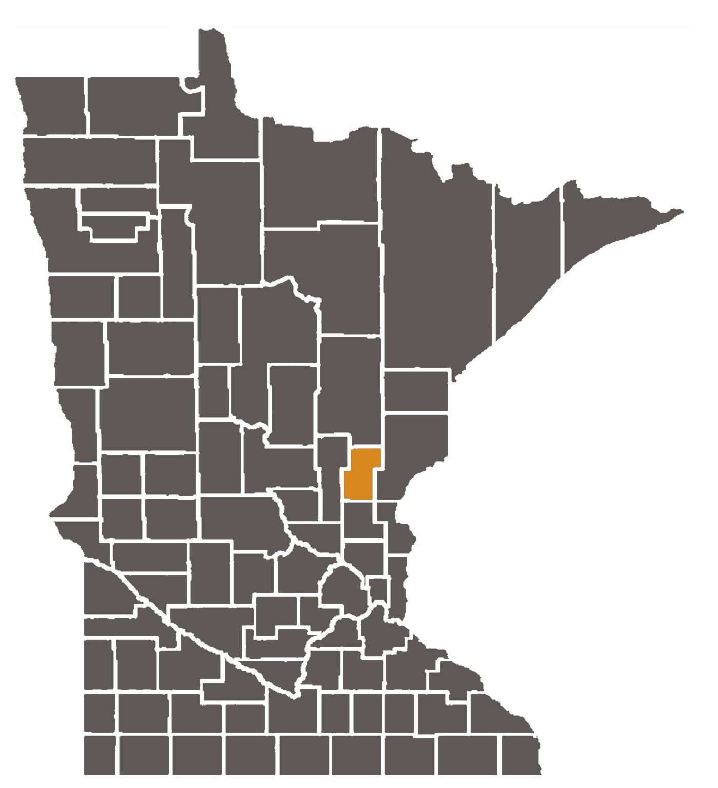 Minnesota map with Kanabec County highlighted.