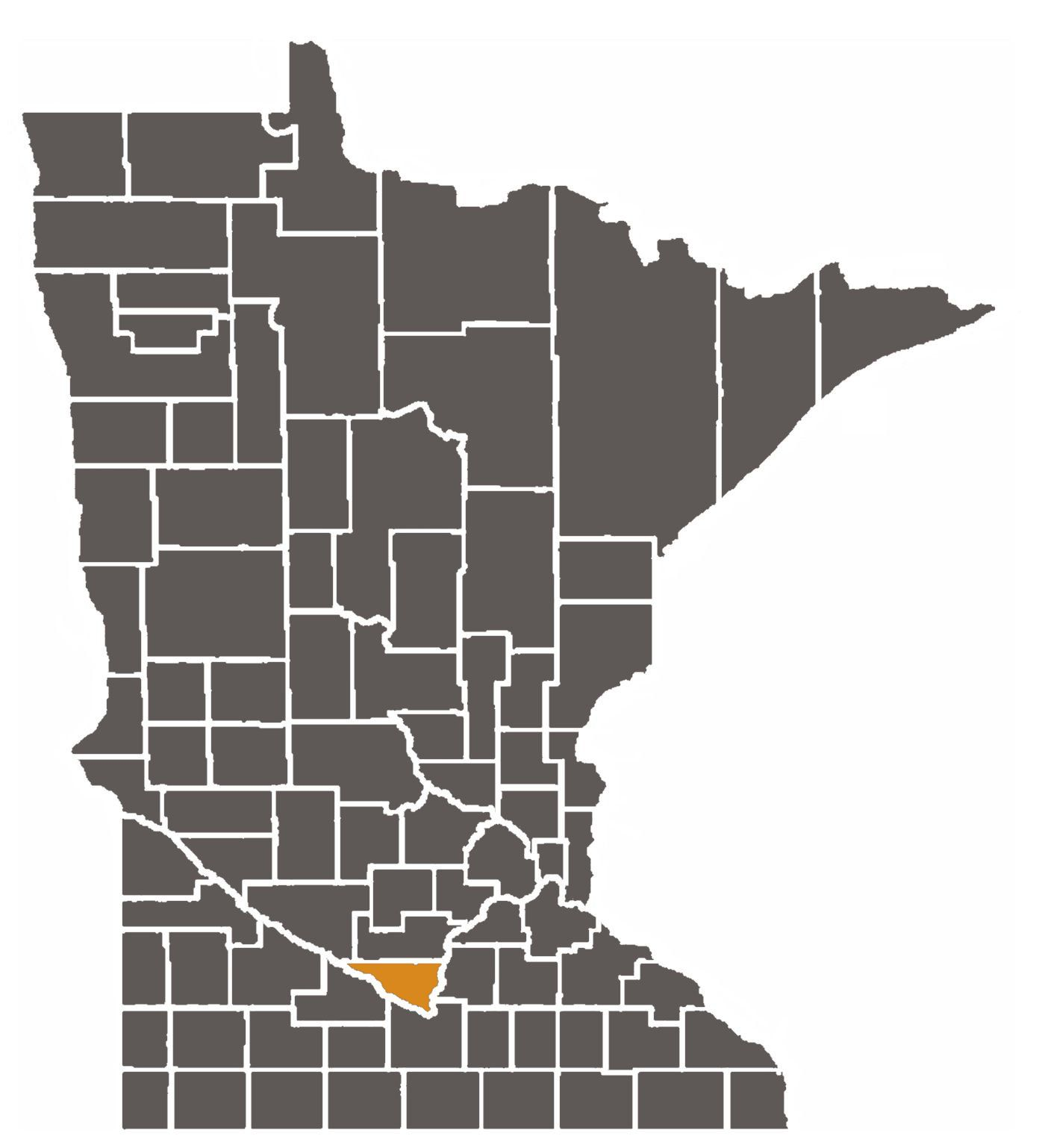 Minnesota map with Nicollet County highlighted.