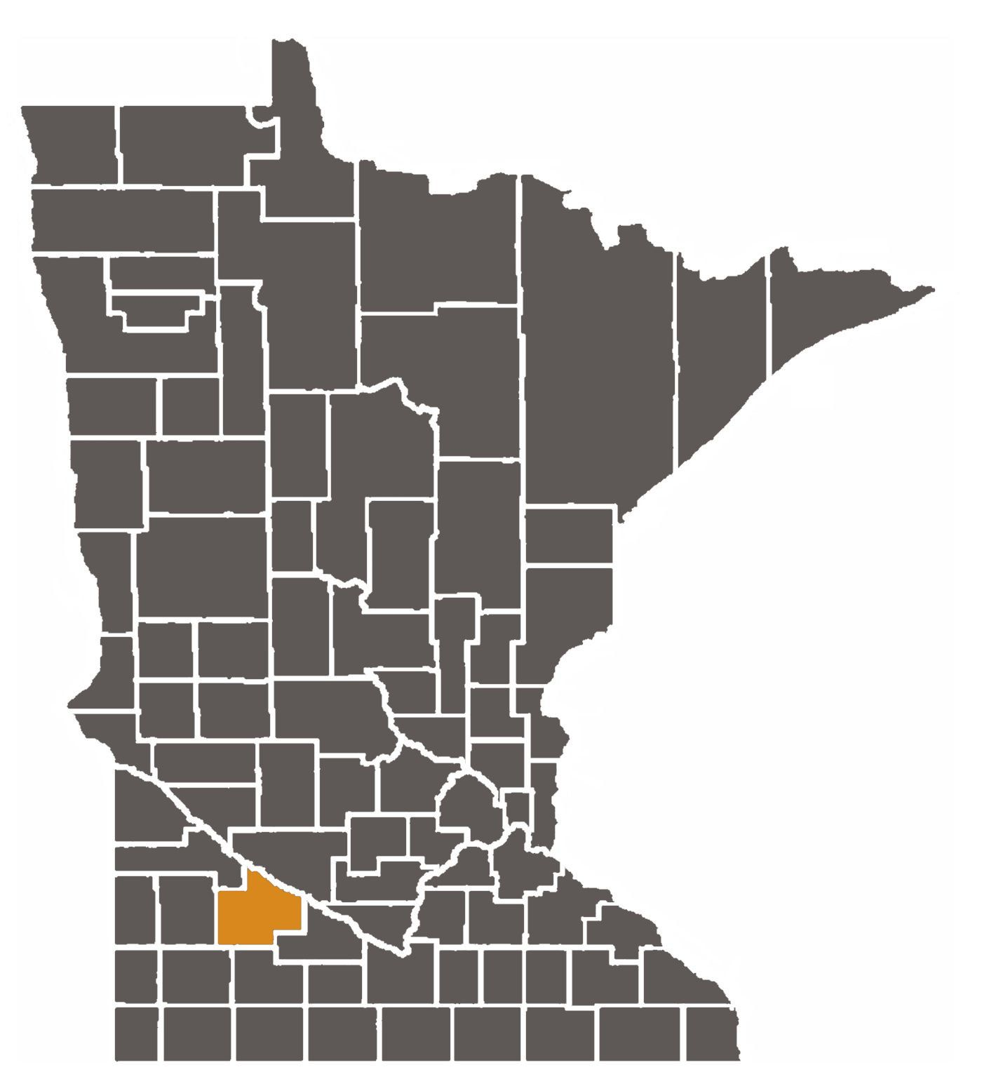 Minnesota map with Redwood County highlighted.