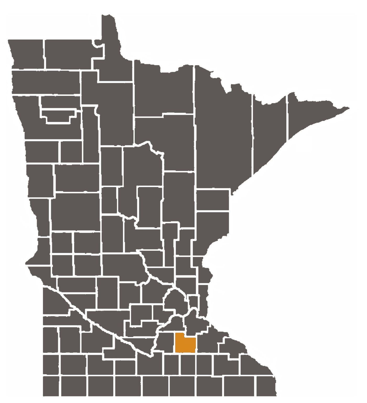 Minnesota map with Rice County highlighted.