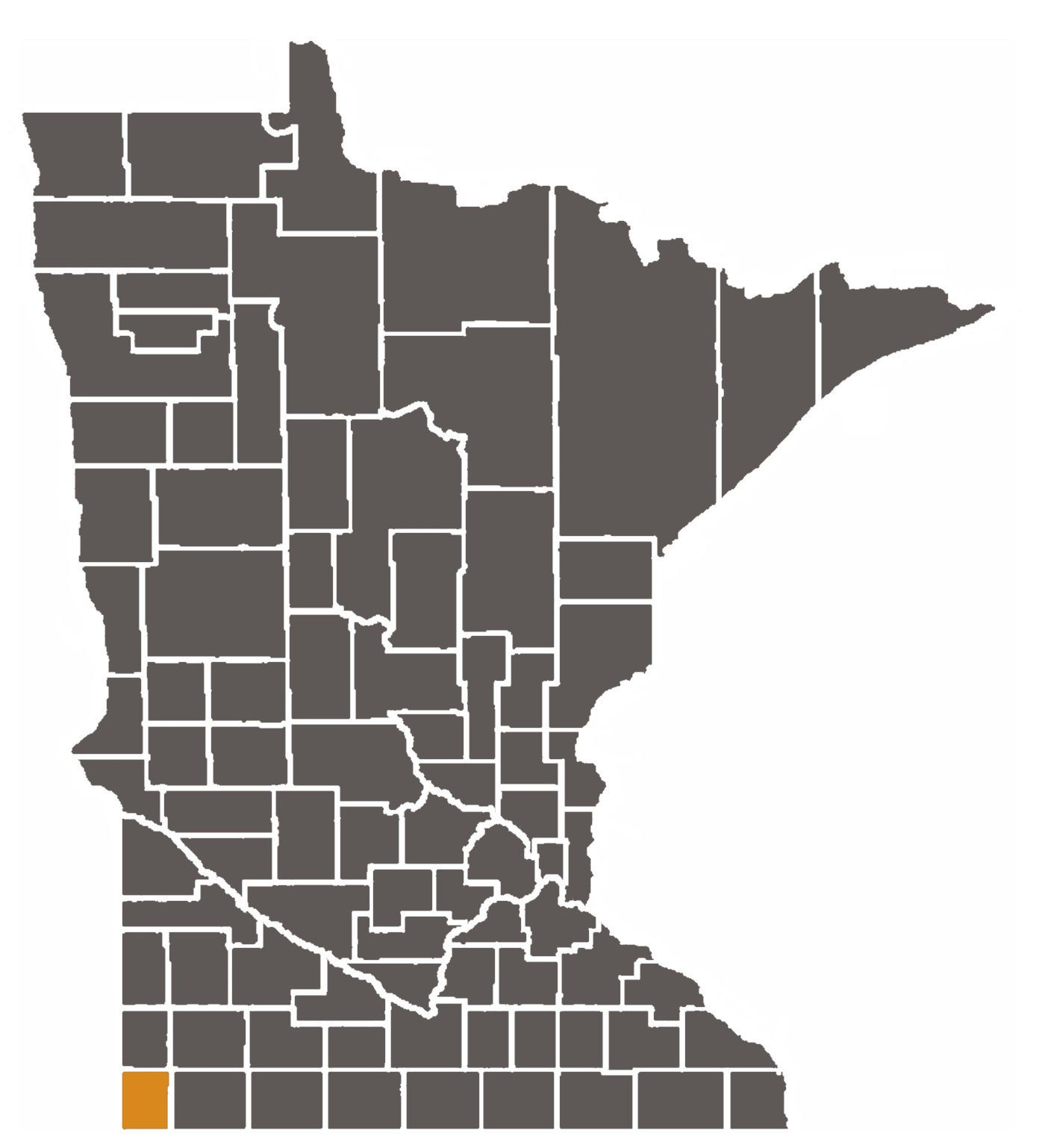 Minnesota map with Rock County highlighted.