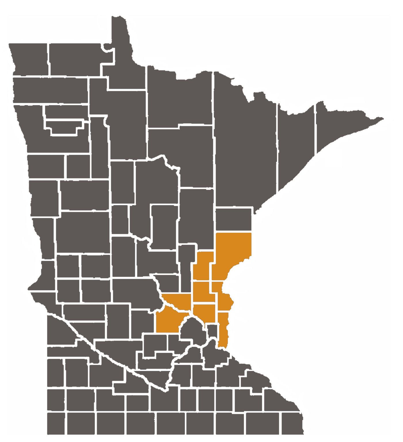 Map of Minnesota with Tenth Judicial District counties highlighted